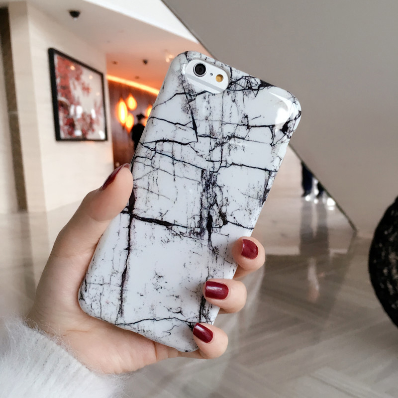 Classicial Tpu brillant marbre Pour iPhone6 6 s 6 plus 6 splus i7 i7plus cas blanc noir Shinny Pierre marbre téléphone couverture cas