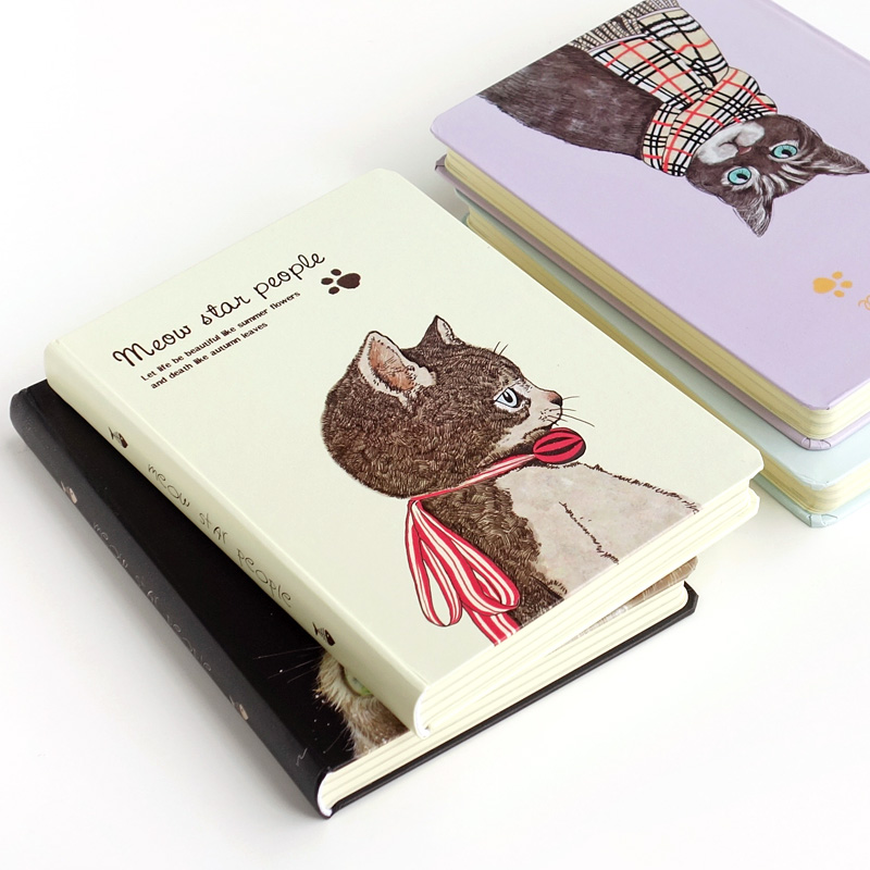 Kawaii Cute Cat Note Book Personal Blank Dairy Journal Hardcover A5 Notebook Sketchbook School Supplies Drop Shipping Store romantic cute flower and cat kittens japanese notebook blank pages stitching binding diy journal diary note book sketchbook
