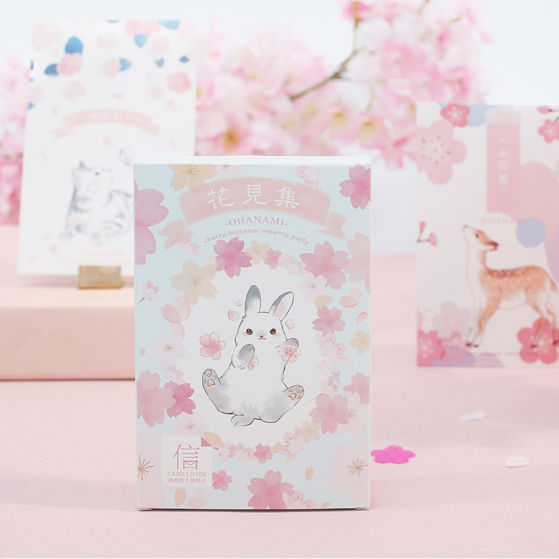 Cute Flowers And Animals Theme Watercolor Fashion Post Cards Pack 14.3*9.3cm DIY Bookamrk Gift 30PCS/LOT