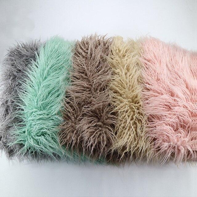 1*1.6M Newborn Photography Props Blankets,Soft Long Fur Plush Baby Blanket Basket Flokati Stuffer,Faux Fur Fotografia Backdrop