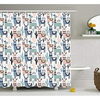 Vixm Llama Shower Curtain Children Cartoon Style Hand Drawn South American Animals Alpacas and Llamas Fabric Bath Curtains