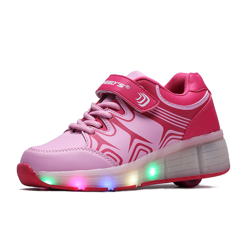 Size 9-13 Kids Light Up Shoes With Lights For Kids Children Casual Walking Wheels Sneakers Girls Boys Comfortable Led Flats 2016 2017new children led light shoes with one two wheels kids pu leather high help roller skate shoes boys girls sneakers shoes