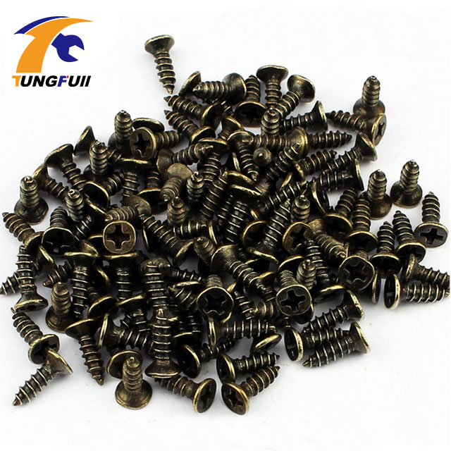 1000pcs M2*8mm Antique Hardware Accessories Bronze Color Philips Head Self-tapping Screws Nail Nut For Wood Box Furniture scooter modified shell decorative accessories motorcycle titanium screws color screws self tapping screws car styling diy kit