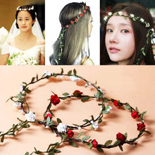 6Colors Tassel Bohemian Style Wreath Floral Flower Wedding Bride Crown Rim on The Head Diade Hair Head Band Beach Garland 2018(China)