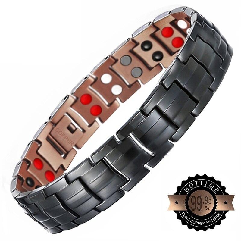 2 rangées aimant noir cuivre Vintage énergie magnétique Bracelet pour homme charmes santé Bracelets Bracelet pour messieurs 2019 2019