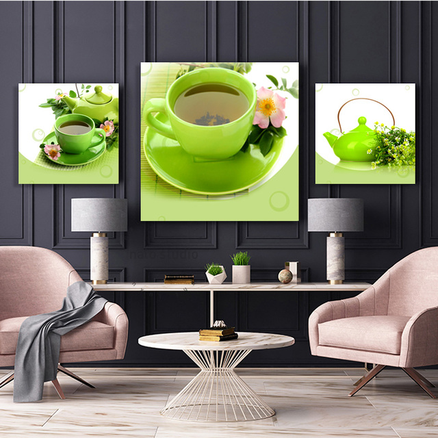 Modern Green Teapot Tea Tray Set Oil Painting Canvas Poster Wall Pictures Art Modular Picture Paintings For Living Room No Frame