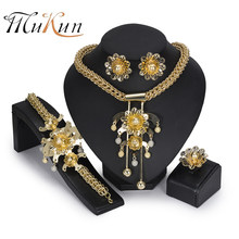 MUKUN BIG African Jewelry Set luxury Golden color Wedding Dubai Indian Bridal Jewellery Set for Women Turkish Jewelery Costume(China)