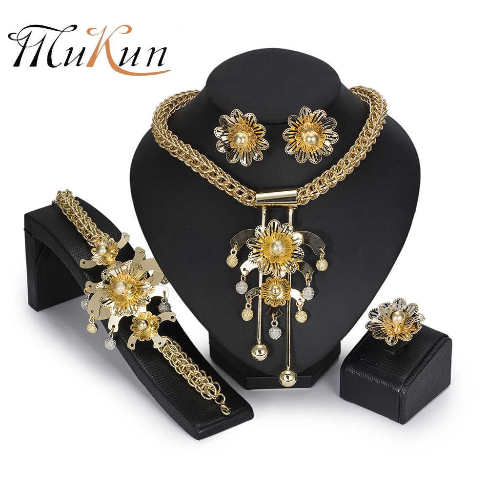 MUKUN BIG African Jewelry Set luxury Golden color Wedding Dubai Indian Bridal Jewellery Set for Women Turkish Jewelery Costume