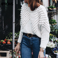 Aproms Chic Hand Knitted Balls Trimmed Pullovers Women Winter Warm Long Sleeve Loose Knit Sweater Girls Jumper Top Pull Femme