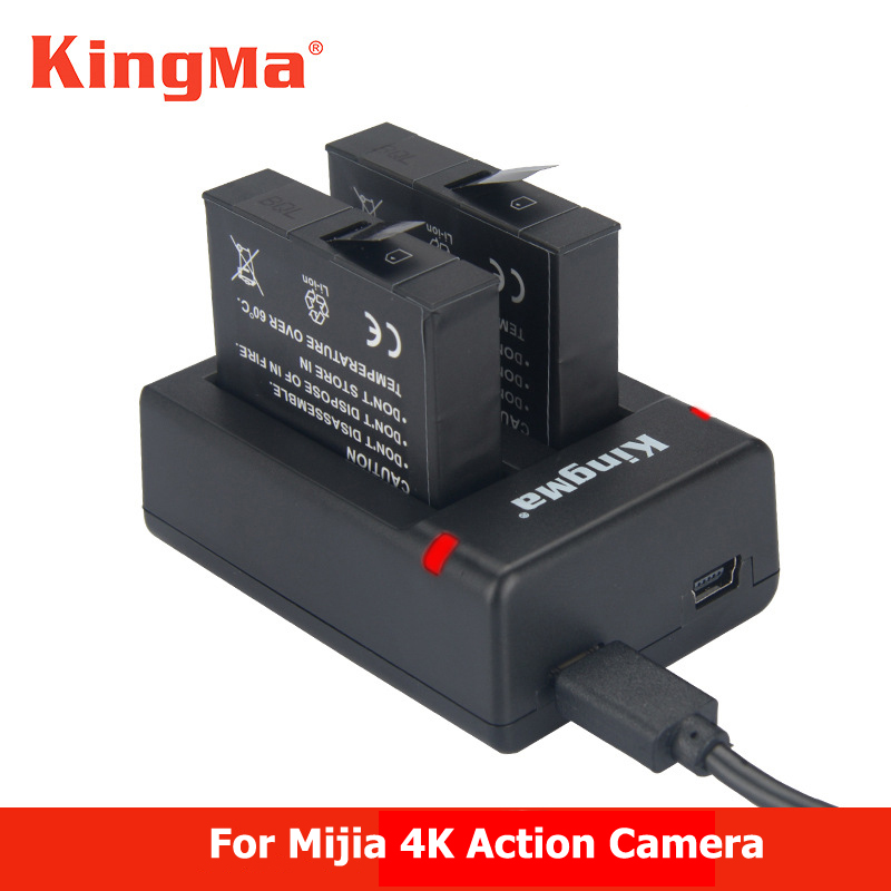 KingMa For 2pcs Xiaomi mijia 4k Battery +Dual Batteries Charger For Sport Xiao mi Mi Jia Action Mini Camera Battery Accessories водонепроницаемый чехол для mi action camera 4k
