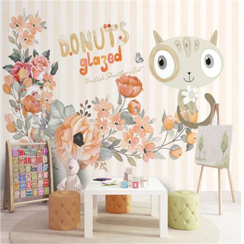 Cartoon Wall Papers Home Decor Background Wall Non-Woven Wallpapers Cat Pink Flowers Wallpapers for Children Room