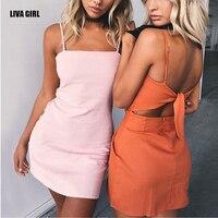LIVA GIRL Brand Summer Sexy Club Bow Spaghetti Strap Social Intercourse Dress For Women Solid Mini