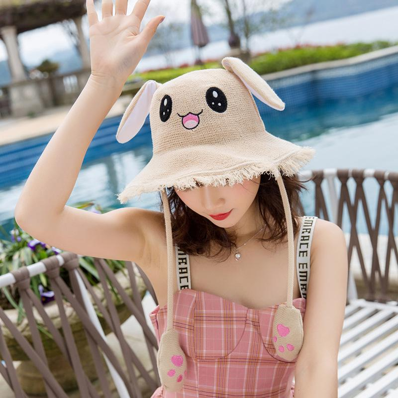 Summer Women Fisherman Hat Pinch Long Ears Moving Cat Plush Cartoon Rabbit Ears Hat Kids Adult Sun Hat Novelty Photography Props