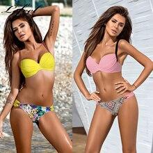 Lefeel пуш-ап купальник однотонный сексуальный купальник бикини с рисунком нижняя часть купальный костюм 2019 Женская пляжная одежда женские купальники Biquini