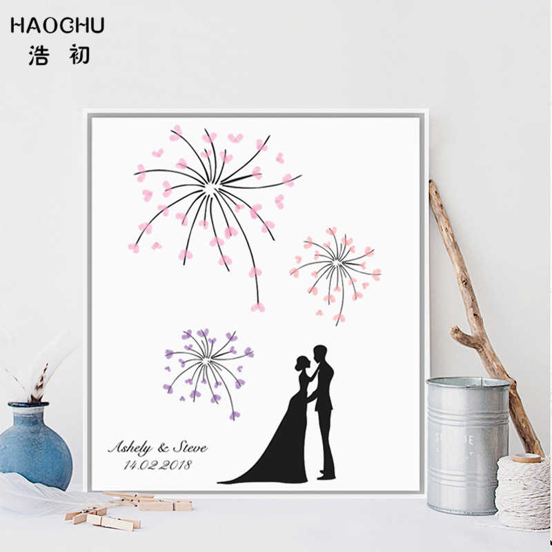 HAOCHU Personalized Guest Book Wedding Fingerprint Painting Signature First Communion Party Colorful Firework Celebration Decor