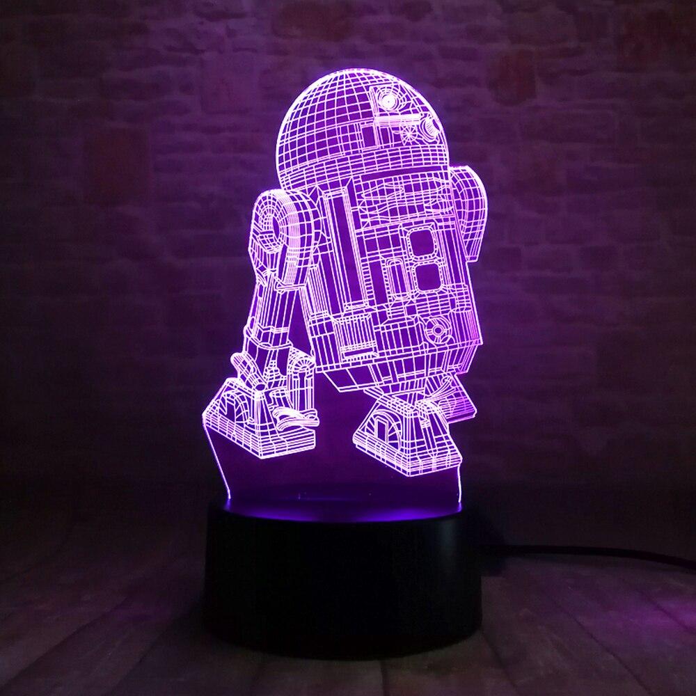 Star Wars Legends Robot R2D2-B 3D 7 Rəng Gradient Gecə Yüngül - Gecə işığı - Fotoqrafiya 5