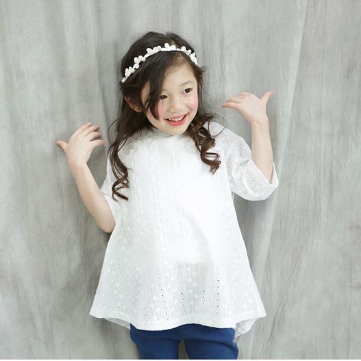 2018 zomer stijl baby meisje bloem uitgehold feestjurken kinderen - Kinderkleding