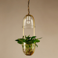 Pastoral style pendant lighting fixtures with glass lampshade and plant flower pot,gold wrought iron hanging lamps for balcony