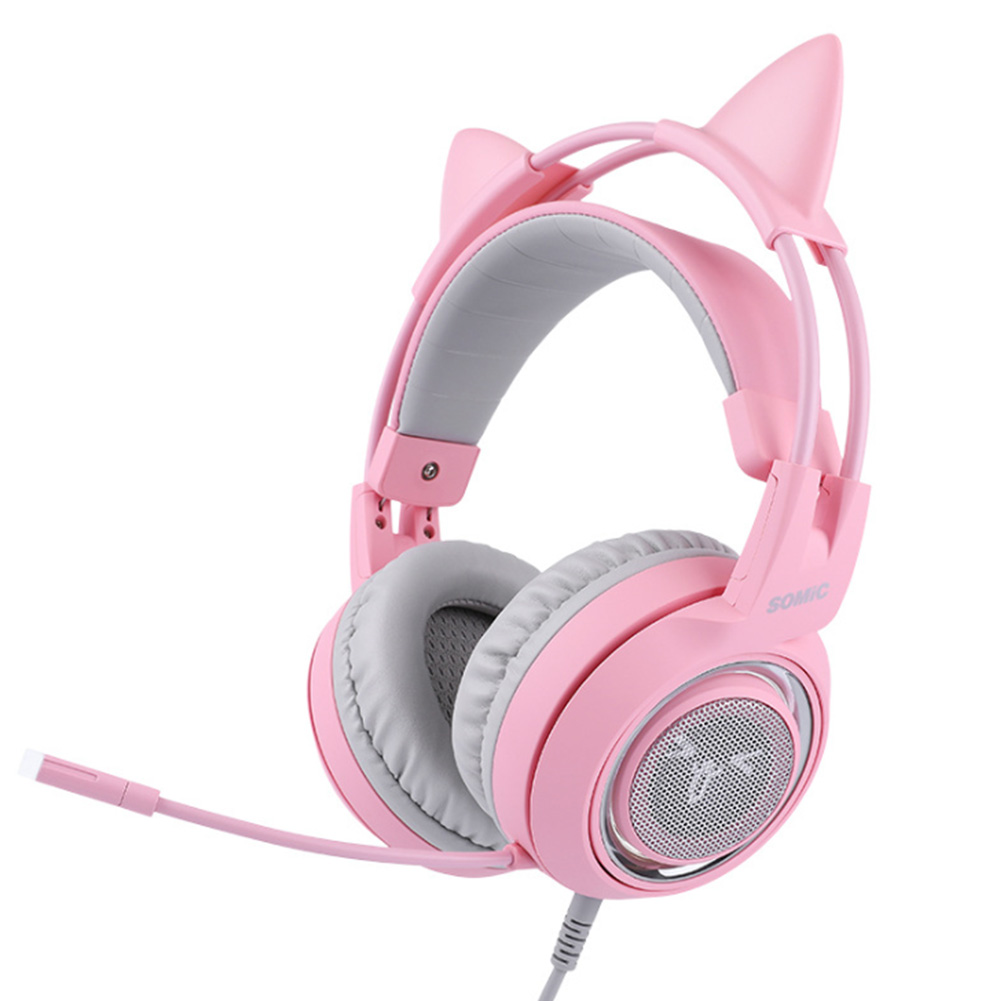 Noise Canceling Professional Wired Mounted Detachable Gaming set Pink Cat Gift Adjustable phone For SOMIC G951s
