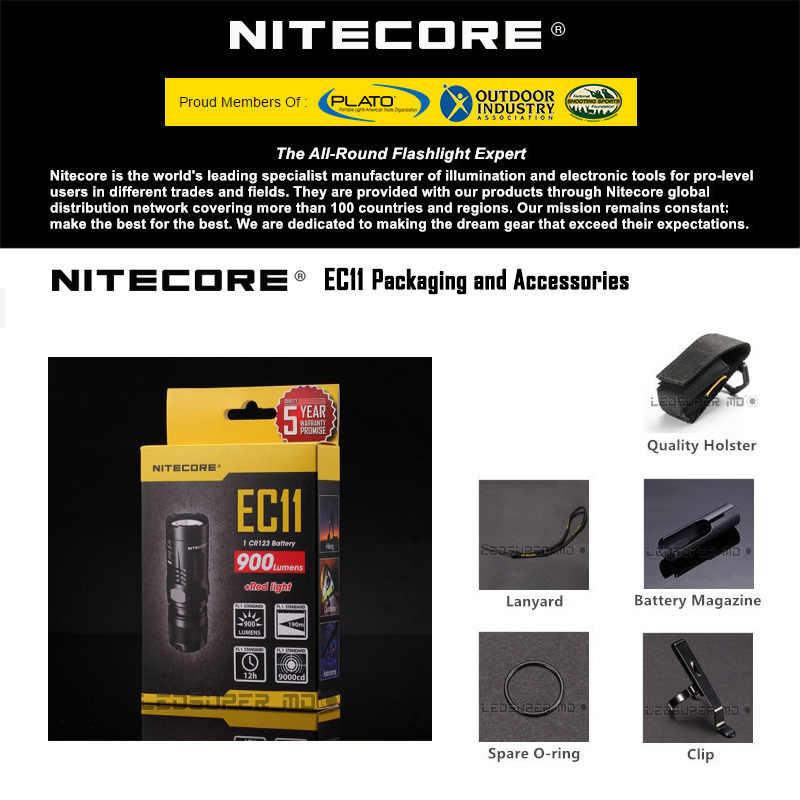 Оригинальный NITECORE EC11 900 люмен EDC фонарь Мини CREE светодиодный карманный светильник с зажимом и красным светильник