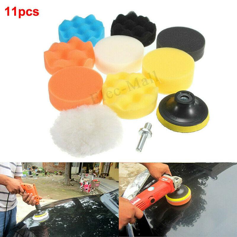 11PCS Car Foam Drill Sponge Polishing Pad Kit 3/4/5/6/7 Inch Buffing Waxing Pads Polisher Buffer Drill Adapter Wheel Brush Set