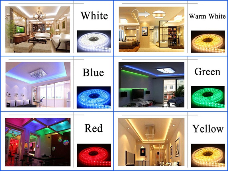 3528 5050 RGB led strip Cold white Warm white blue red green yellow with remote control and power adapter (13)