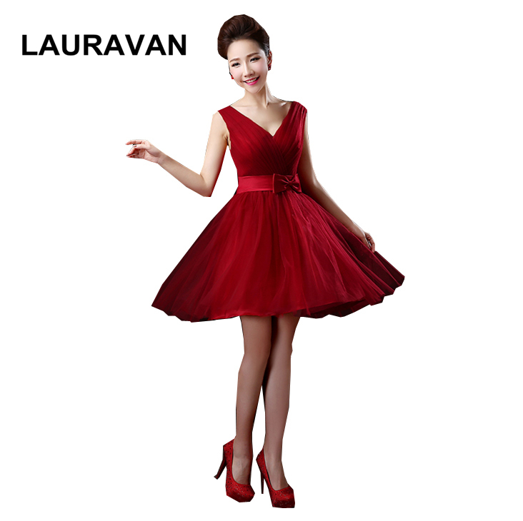 Sweet 16 Burgundy Wine Red V Neck Girls Prom Party Dress For Knee Length Formal Occasion Ball Dresses High School Gown
