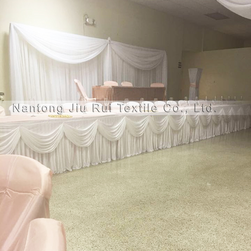 Customized Ice Silk Table Skirt with Swag Valance for Banquet Party Wedding Decor