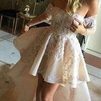 Long Sleeve Lace High Low Prom Dresses 2017 Vestido De Renda Appliques Off The Shoulder Light