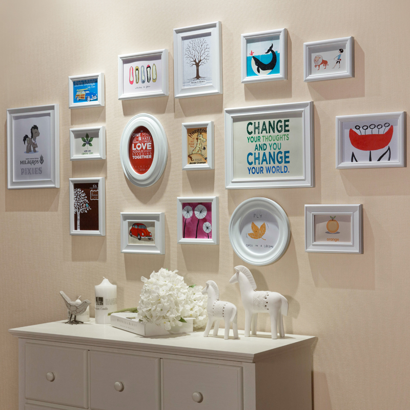 White multi photo frames wall home design for American classic frames