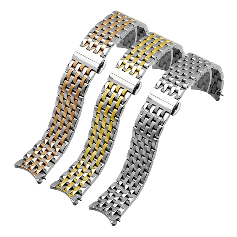 Image 2 - PEIYI Quality stainless steel watchband 20mm silver and rose gold metal wristband arc watch chain replacement for Tissto T063Watchbands   -