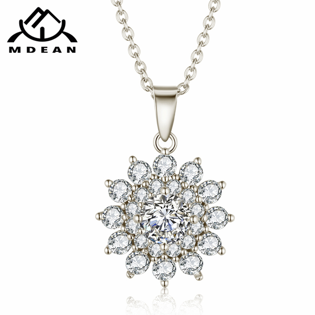 MDEAN Necklace Pendant White Gold Color Jewelry for Women Wedding Engagement wedding Clear AAA Zircon Flower Necklace  D166