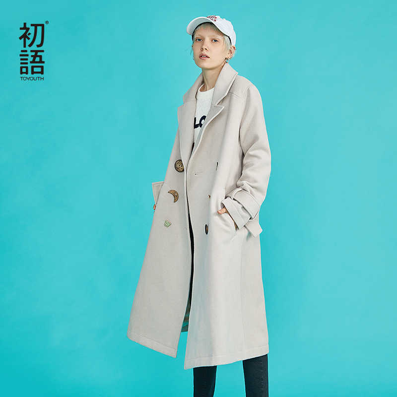 Toyouth Winter Wool Blends Double-Breasted Long Coat Women Korean Vintage Slim Abrigo Mujer Largo Plus Size Chauqetas De Mujer