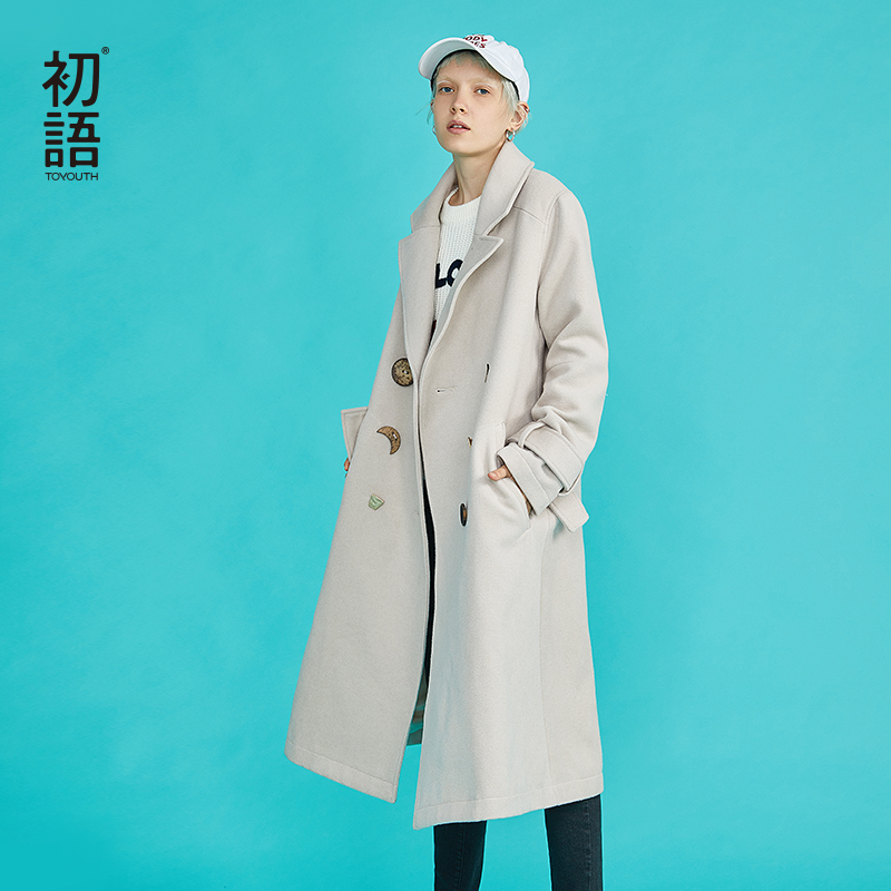 Toyouth Hiver Laine À Double Boutonnage Long Manteau Femmes Coréennes Vintage Mince Abrigo Mujer Largo Plus Taille Chauqetas De Mujer