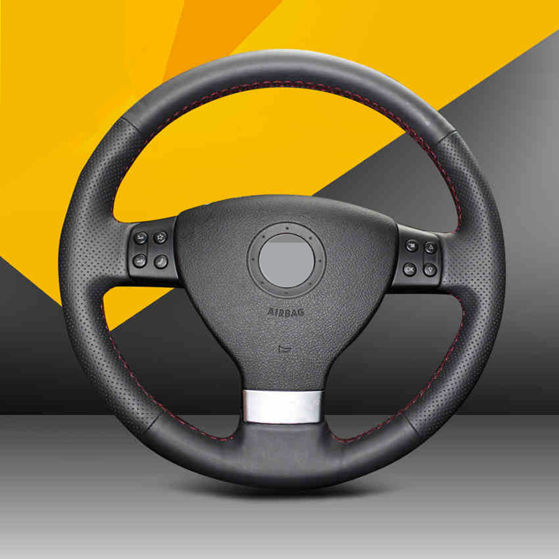 Hand-stitched Car Steering Wheel Cover for Volkswagen Golf 5 Mk5 Sagitar Magotan VW Passat B6 Jetta 5 Mk5 Tiguan 2007-2011 внешний pm2 5 volkswagen golf кондиционер воздушный фильтр 6 7 sagitar magotan cc octavia нового tiguan новый passat