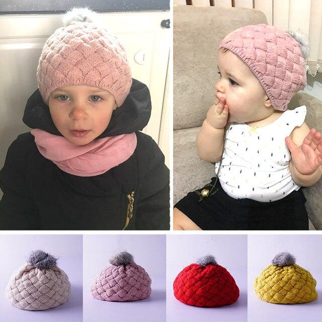 2019 Les Nouveau-nés de Tir de Chapeaux Pour Les Filles Tricoté Chapeau  Avec Pompom 6a666774c86