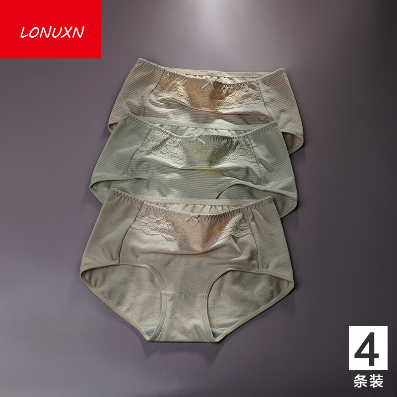 4 pieces high quality 100% cotton Solid color Sexy Comfortable Antibacterial Women's underwear Girls Lace bow Mid Rise Briefs