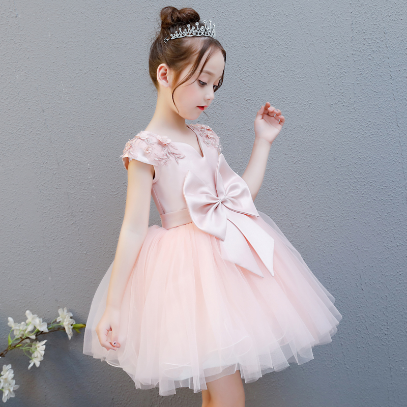 High quality children s dress pink flower girl girl dance piano costumes fluffy princess dress