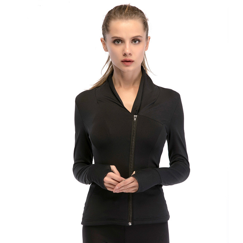 Colorvalue Chic Zipper Yoga Jacket Women Slim Plus Size Jogger Running Coat Nylon Sport Gym Jersey with Pocket and Thumb Holes