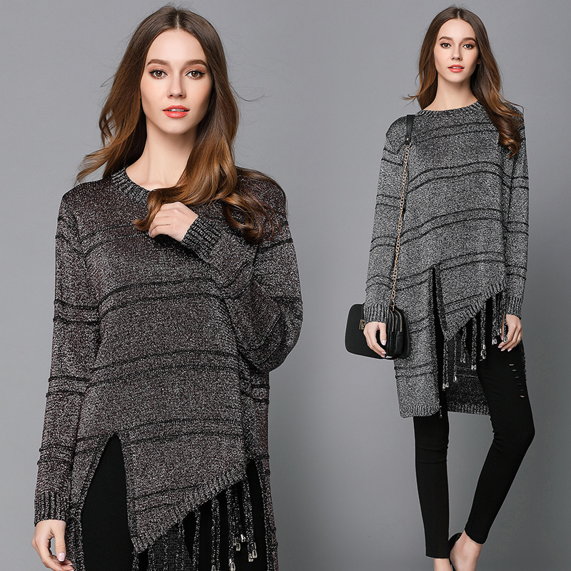 2017 Spring New European Fashion Women Long Sweater Cutout Tassel Decor Irregular Asymmetric Design Silver Knit Long Big Yards