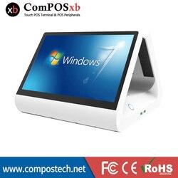 Tanie 12 Cal podwójny ekran kasa fiskalna POS pojemnościowy dotykowy wszystko w jednym PC maszyna POS dla restauracji