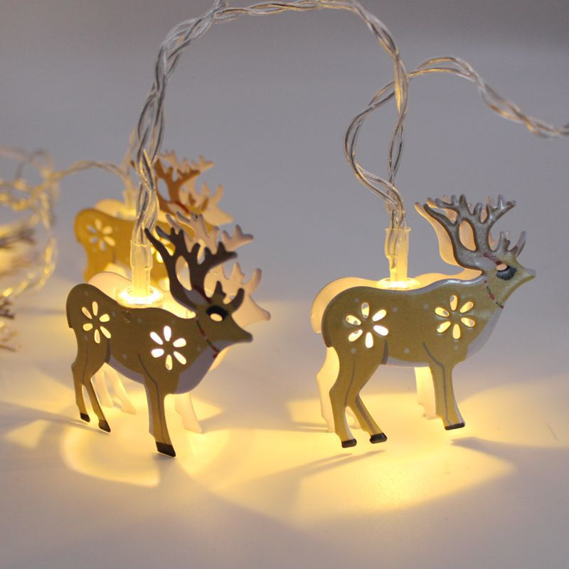 Christmas Fairy Lights 1.8M Elk Bell Snowman String Light Battery Iron Nightlight Party Wedding Luces LED Decoration For Home