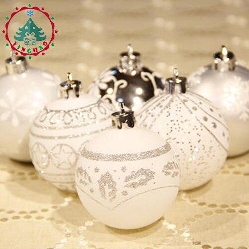 Inhoo Argent Blanc Thème Pack Ornements pour Arbre 6 cm Décor Boule De Noël Arbre Ball Boule Suspendus Ornement De Noël Maison décor