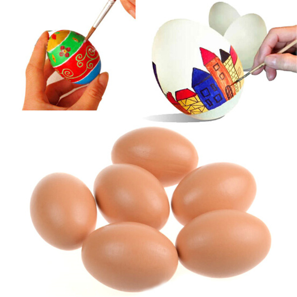 New 3pcs DIY Painting Easter Eggs Kids Toys Wooden Creative Simulation Egg Educational Toys Children Easter Party Favors Gifts