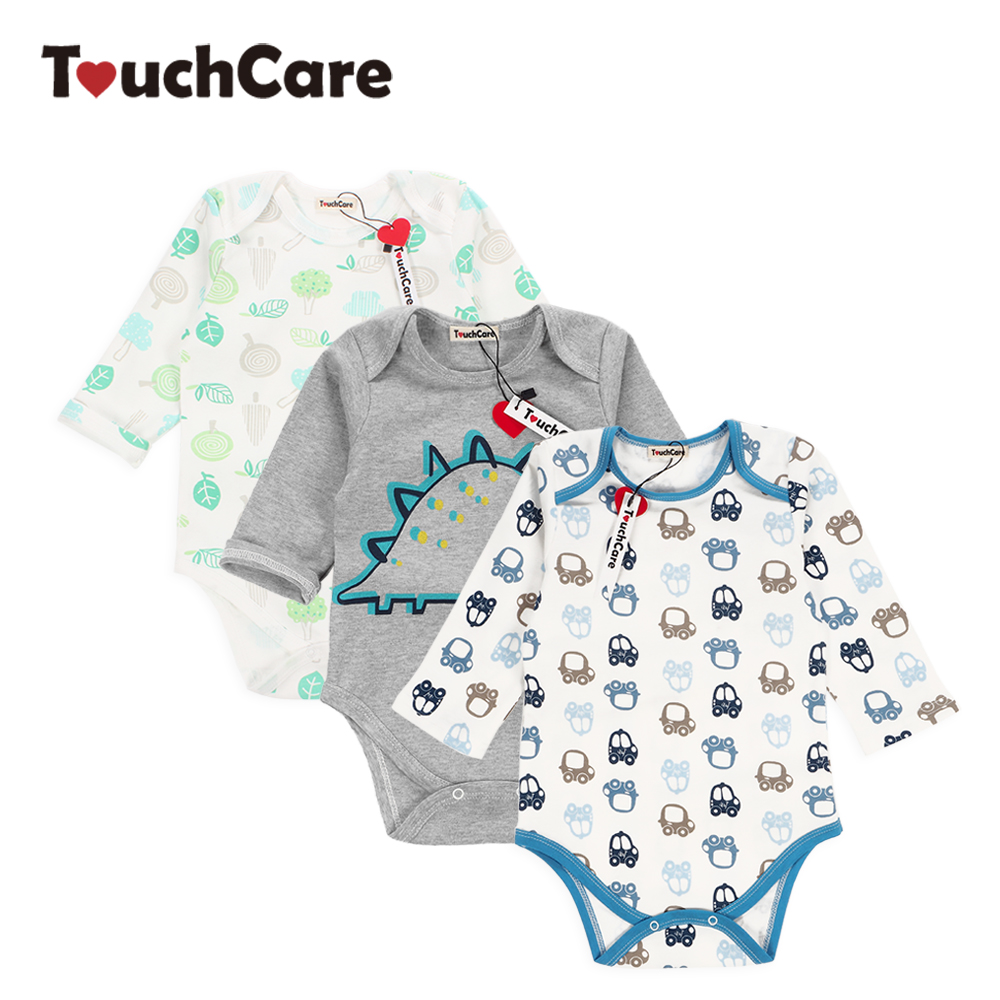 Infant Cute Cartoon Dinosaur Baby Boy Girl Rompers Soft Cotton Car Printed Long Sleeve Toddler Jumpsuit Kids Clothes autumn winter baby girl rompers striped cute infant jumpsuit ropa long sleeve thicken cotton girl romper hat toddler clothes