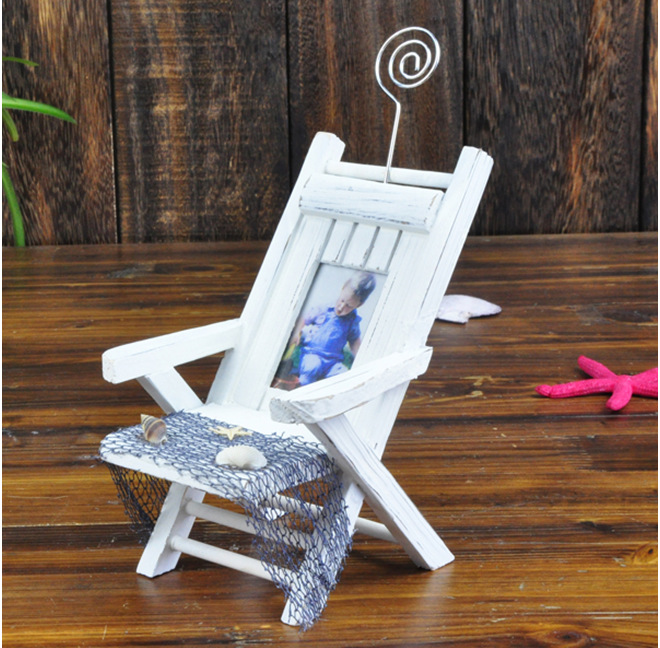 Beach Chair Photo Frame Buffalo Leather Mediterranean Style Wooden Mini Namecard Size 6 4cm