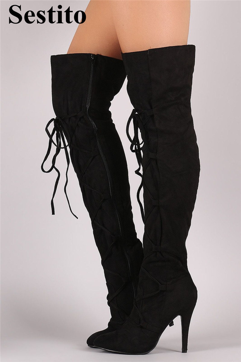 New Black Cross-tied Thigh High Boots Pointed Toe Over-the-Knee Boots Women High Heels Thin Heels Zip Ladies Shoes Spring/AutumnNew Black Cross-tied Thigh High Boots Pointed Toe Over-the-Knee Boots Women High Heels Thin Heels Zip Ladies Shoes Spring/Autumn