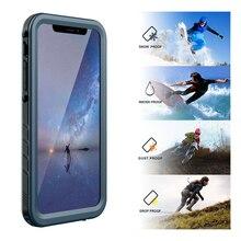 Iphone x xs max xr 방수 케이스 충격 방지 전신 견고한 커버 케이스, 스크린 보호 장치 내장