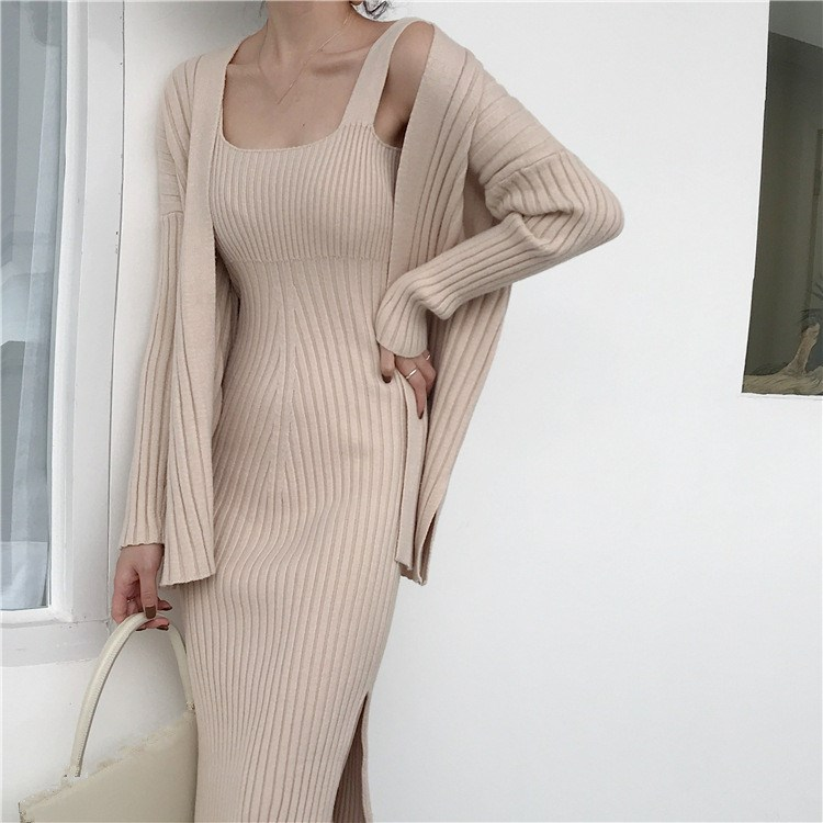 2018 Winter Cardigan   Suspenders Vest Knitted Sweater