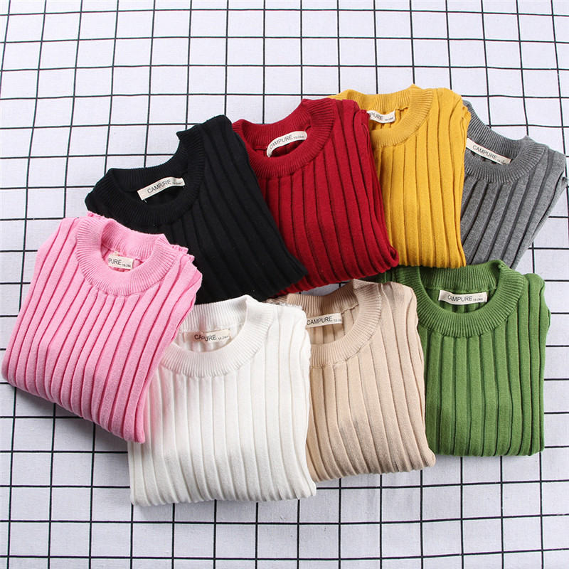 Girls Sweaters Boys Sweater 2018 Autumn Winter New Baby Girl Close-fitting Sweater Cotton Warm Candy Color Kids Clothing 1-6Year sweet high neck candy color sweater